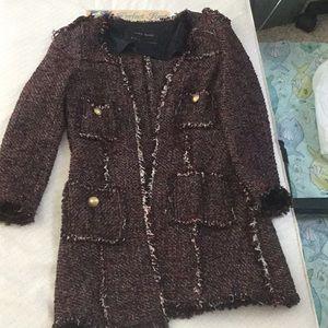 Zara Chanel style open front tweed jacket like new